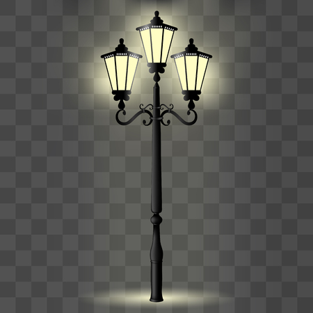 Vector image of a realistic, decorative pillar with a light for lighting Illustration