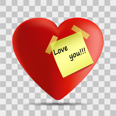 Vector image of a heart with a sticker with the inscription I love you on a transparent background