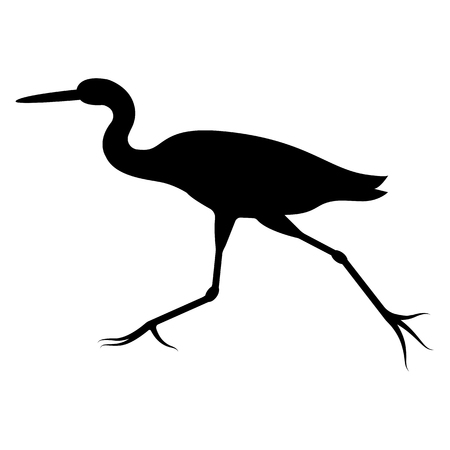 Vector image of the silhouette of the flying heron 矢量图像