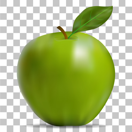The image of the green apple on a transparent background