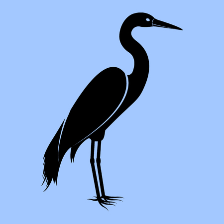 Vector image of the silhouette of the birds of the heron 일러스트