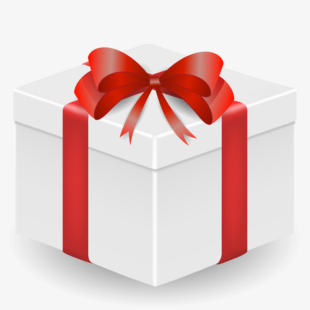 Vector image of a white, realistic, gift box with a red ribbon and a bow, isolated on a white background
