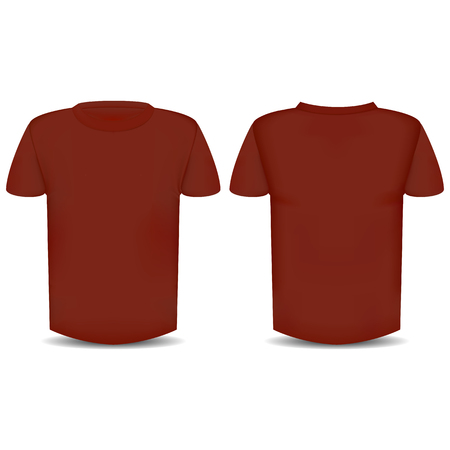 The image of the front and back of the red T-shirt  Illustration