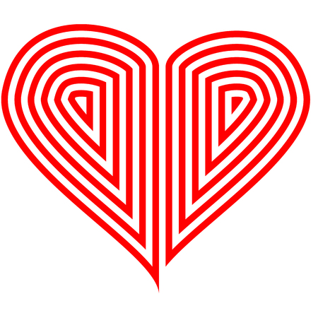Vector image of a flat heart icon. Red and white heart. Imagens - 122706832