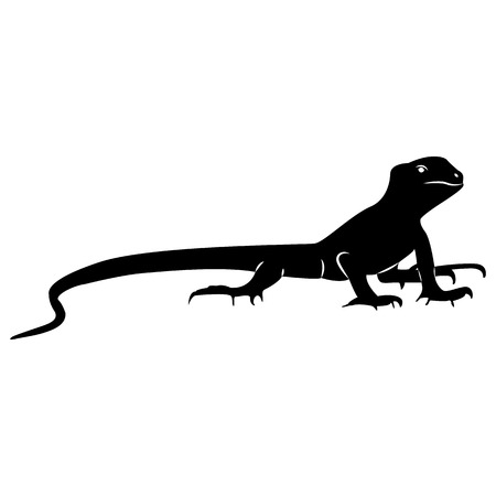 Vector image of silhouette of a lizard on a white background Illustration