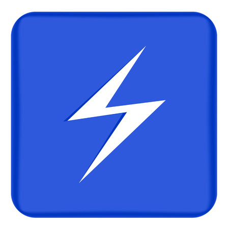 Vector image of a flat lightning icon on a blue background. Blue button with white lightning