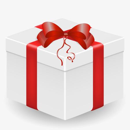 Immagine vettoriale di una scatola regalo bianca, realistica, con un nastro rosso e un fiocco, isolata su uno sfondo bianco