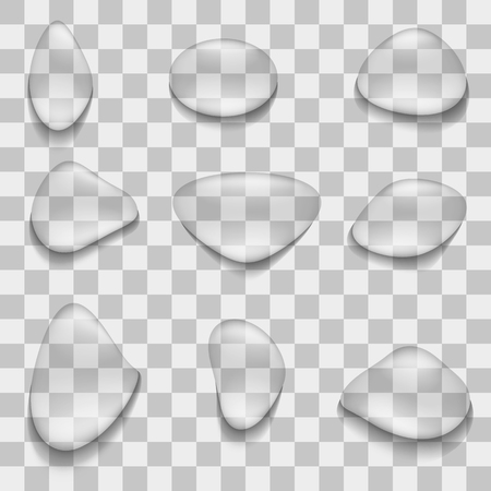 Vector image of a set of realistic water droplets of different shapes in a transparent background. 3d droplets