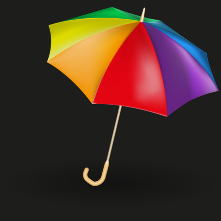 Vector image of a realistic expanded umbrella. Multicolored umbrellas.
