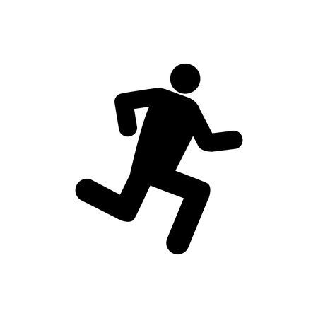 Vector image of an isolated silhouette of a running person. Design of a flat icon of a person running in black