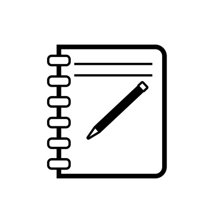 Vector image of an isolated notepad icon. Design a flat black black notebook icon