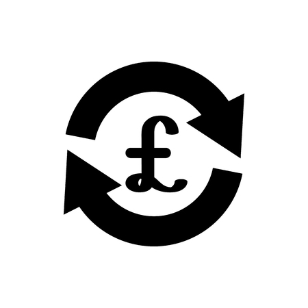 Vector image of a flat, isolated pound icon. Flat currency exchange design. Great Britain currency sign