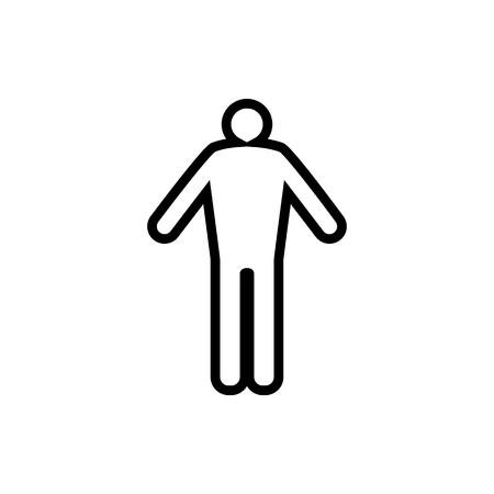 Vector image of a flat, isolated, linear icon of an adult male. Design of adult black man's icons.  イラスト・ベクター素材