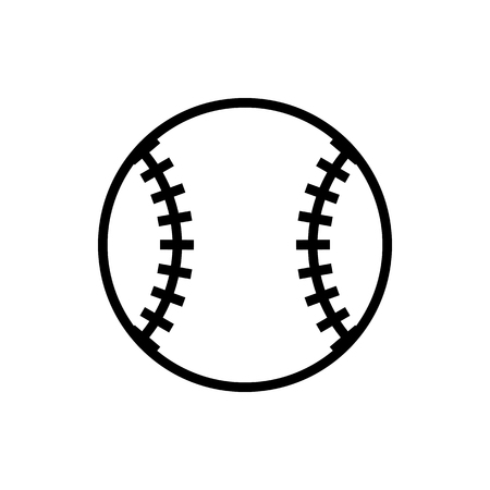 Vector image of an isolated, linear ball baseball icon. Design a flatball ball baseball icon