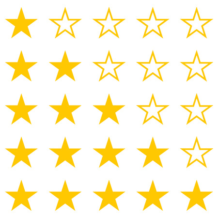Vector image of a set of yellow stars. Rating, one star, two stars, three stars, four stars, five stars