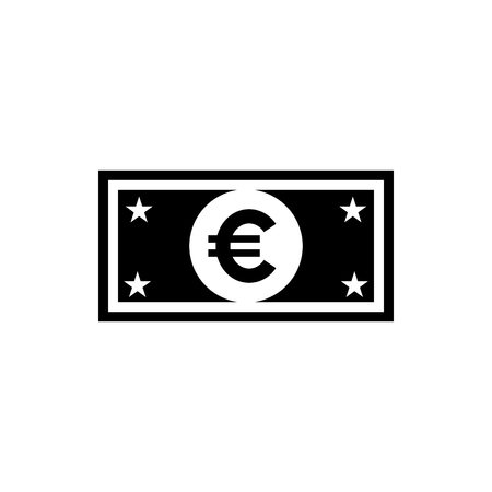 Vector image of a flat, isolated banknote icon with euro sign. Sign of the monetary union of the European Union  イラスト・ベクター素材