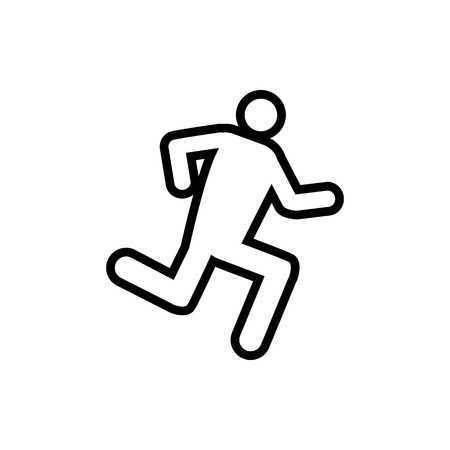 Vector image of an isolated silhouette of a running person. Design of a flat, linear icon of a person running in black  イラスト・ベクター素材