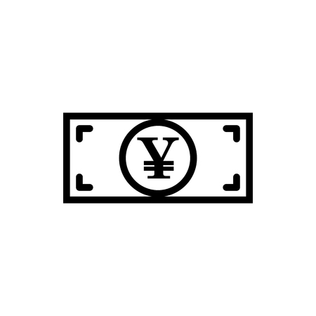 Vector image of a flat, linear, isolated icon with a yen sign. Sign of the currency of Japan.  イラスト・ベクター素材