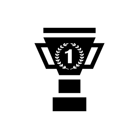 Vector image of isolated winner cup icons. Design a flat black winner's cup icon  イラスト・ベクター素材