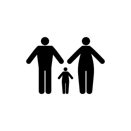 Vector flat, isolated image of silhouettes of adult women and men, with a child. Design icons for men, women and children