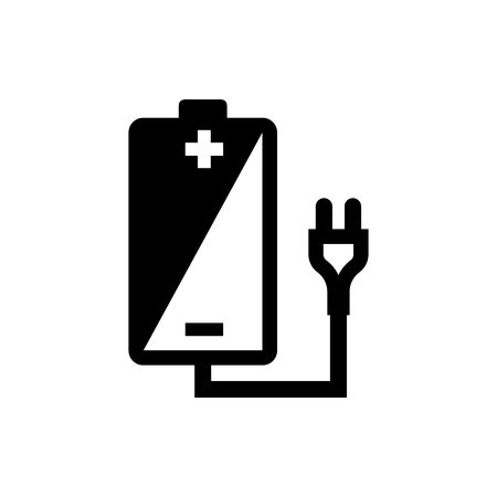 Vector image of isolated  icons of rechargeable batteries. Design a flat battery icon that charges  イラスト・ベクター素材