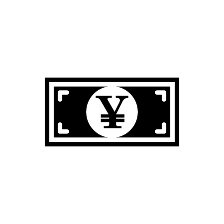 Vector image of a flat, isolated icon with a yen sign. Sign of the currency of Japan Illustration