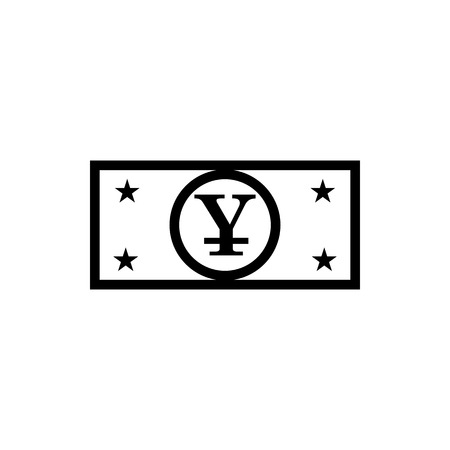 Vector image of a flat, linear, isolated icon with a yuan sign. Chinese currency sign
