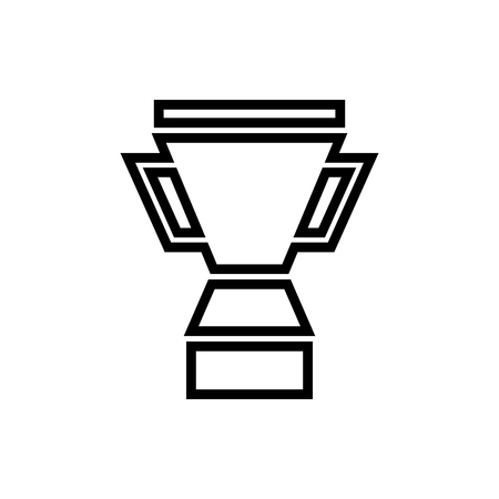 Vector image of an isolated, linear winner cup icon. Design a flat black winners cup icon