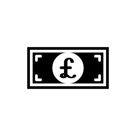 Vector image of a flat, isolated bill with a pound sign. Flat design with a pound sign. Great Britain currency sign Ilustração