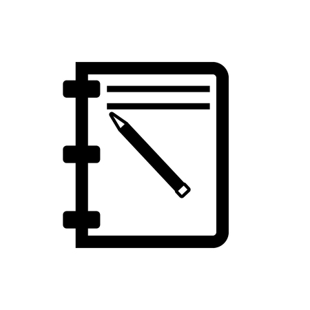 Vector image of isolated pencil notepad icon. Design a flat black pencil notepad icon Ilustração