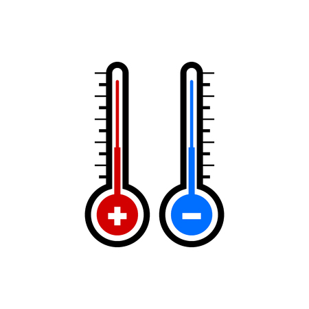 Vector image of an isolated, linear thermometer icon. Design a flat thermometer icon