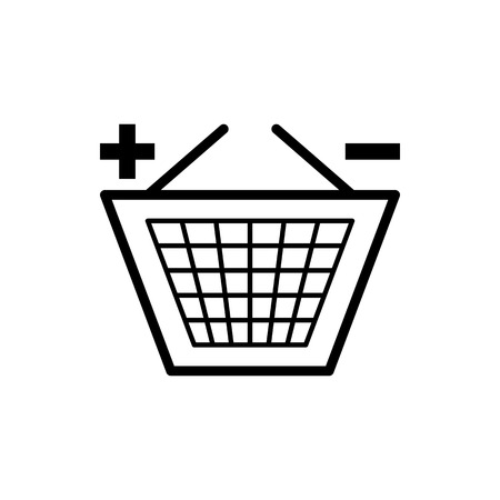 Vector image of a flat basket icon for shopping for goods. Design a flat shopping cart icon. Ilustração