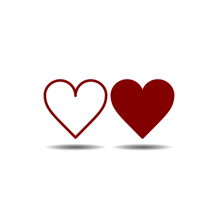 Vector image of flat, isolated two hearts of red color. Design of flat, contour and linear heart icons Ilustração