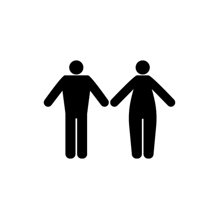 Vector flat, isolated image of silhouettes of man and woman. Design icons for men and women Ilustração