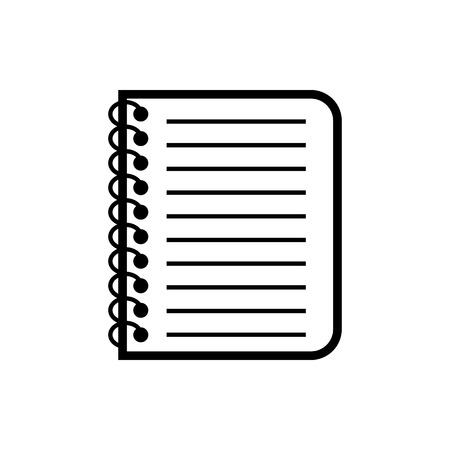 Vector image of an isolated, linear notepad icon. Design a flat black black notebook icon