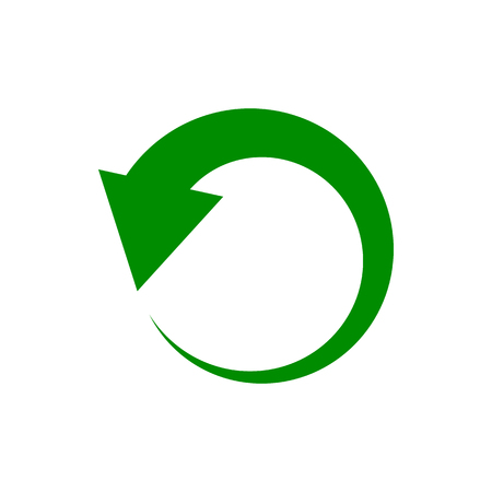 Vector image of an isolated arrow pointing to circular rotation. Design of a flat arrow icon indicating circular motion