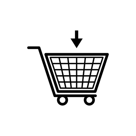 Vector image of a flat, isolated cart icon for shopping for goods. Design a flat cart icon for shopping