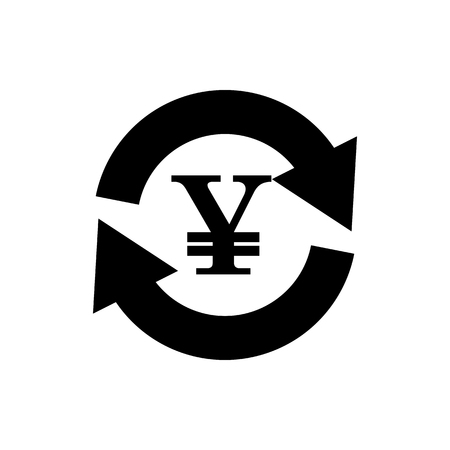 Vector image of a flat, isolated icon of the yen. Currency exchange Yen. Sign of the currency of Japan. Ilustração