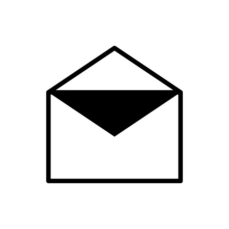 Vector image of an isolated, linear icon of an open envelope. Design a flat open message icon
