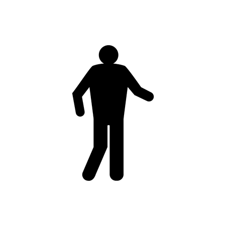 Vector image of an isolated silhouette of the moving person. The design of the flat icon of a person that goes black  イラスト・ベクター素材