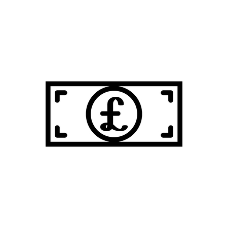 Vector image of a flat, isolated, linear icon of a bill with a pound sign. Flat design with a pound sign. Great Britain currency sign  イラスト・ベクター素材