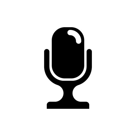 Vector image of an isolated, contour microphone icon. Design a flat microphone icon