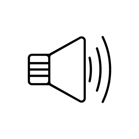 Vector image of an isolated, linear icon of the speaker. Design a flat speaker icon