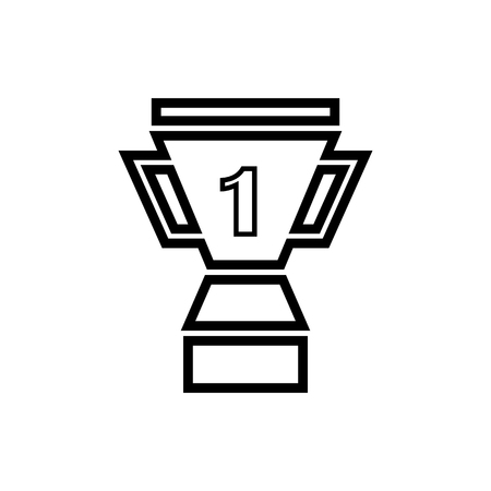 Vector image of an isolated, linear winner cup icon. Design a flat black winner's cup icon