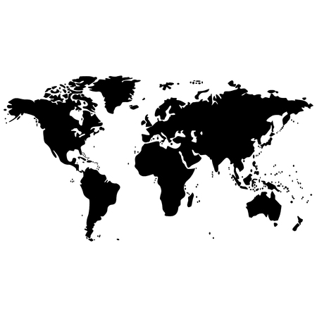 Vector image of an isolated map of the planet Earth. Map of the continents of the planet Earth is black. Icon with the map of the continents of the planet Earth Illustration