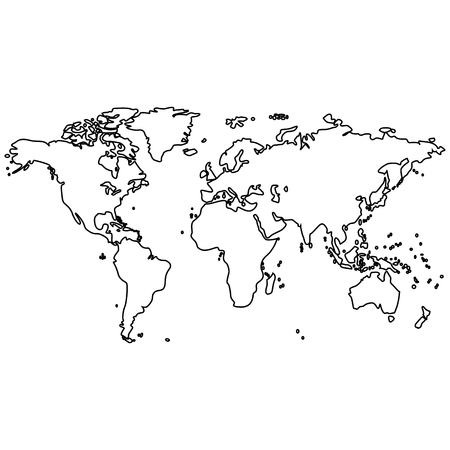 Vector image of an isolated map of the planet Earth. Map of the continents of the planet Earth is black. Icon with the map of the continents of the planet Earth  イラスト・ベクター素材