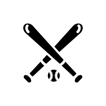 Vector image of an isolated baseball bat icon with a ball for playing baseball. Design a flat baseball icon with a ball