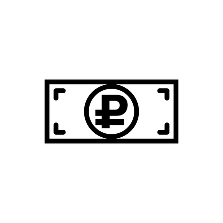 Vector image of a flat, linear, isolated icon of the banknote with a ruble sign. Sign of the monetary unit of the Russian Federation
