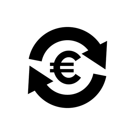 Vector image of a flat, isolated icon of the euro. Exchange of euros. Sign of the monetary union of the European Union  イラスト・ベクター素材