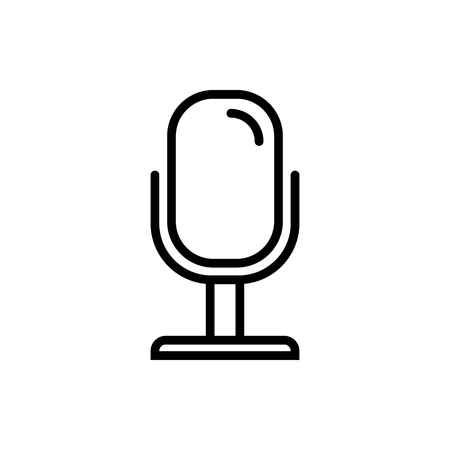 Vector image of isolated, linear microphone icon. Design a flat microphone icon